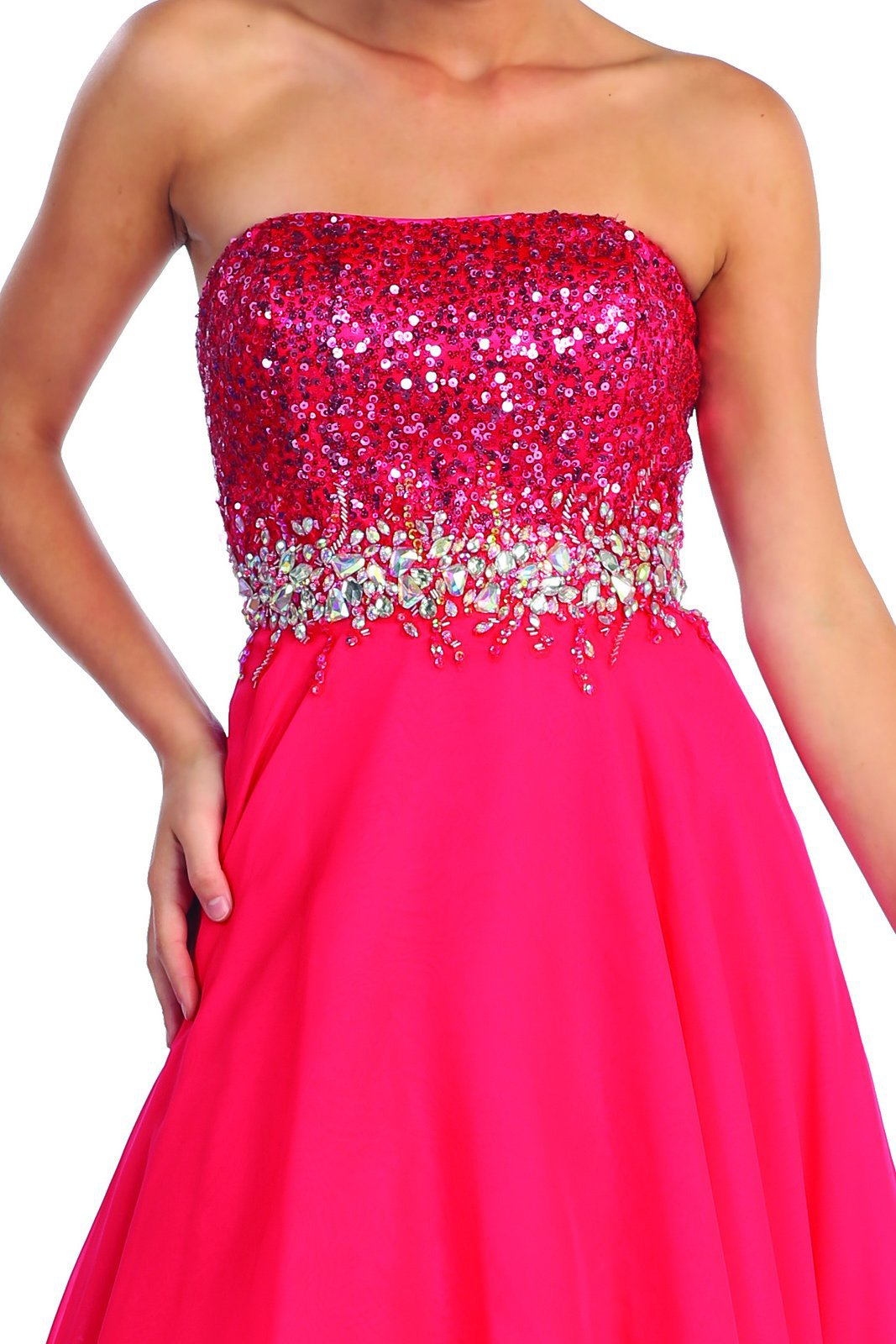 Elizabeth K - Sparkle Strapless Bodice Hi-Low Prom Dress GL1060SC