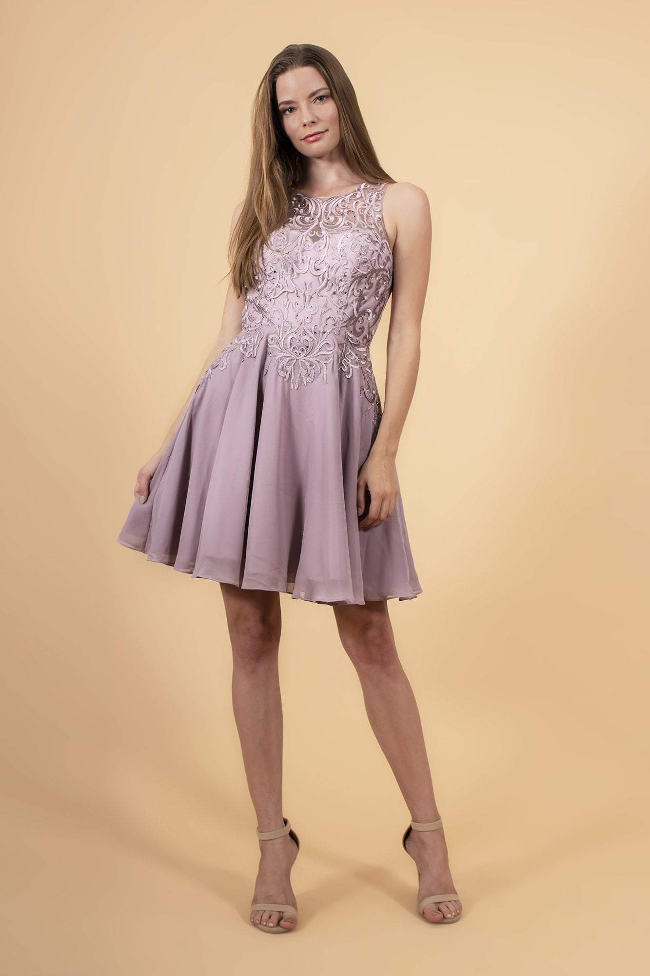 Elizabeth K - GS1618 Embroidered Swirl Motif Illusion Chiffon Dress Special Occasion Dress XS / Mauve