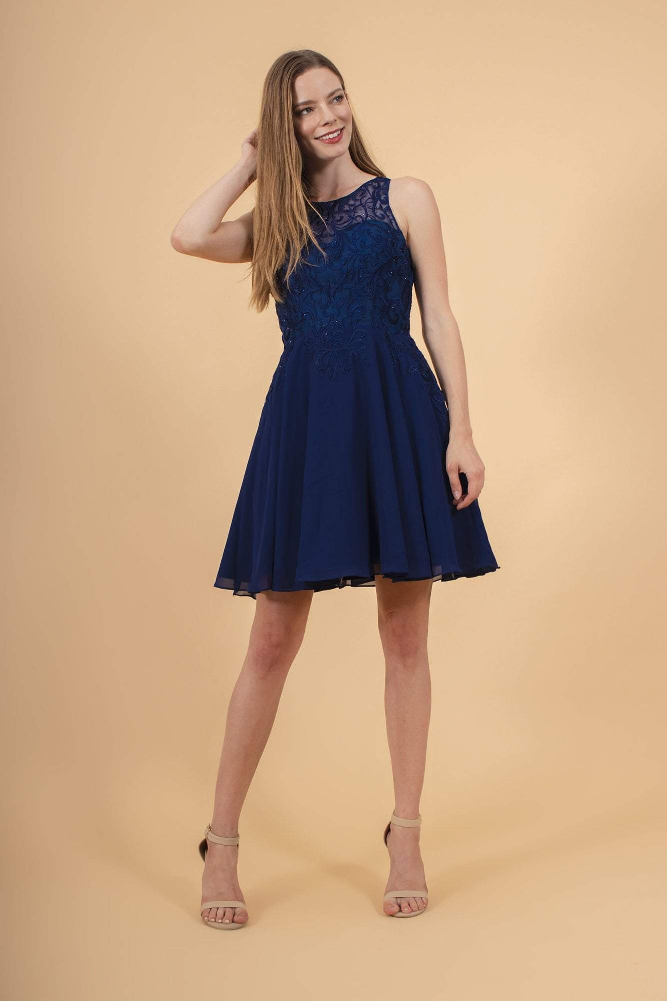 Elizabeth K - GS1618 Embroidered Swirl Motif Illusion Chiffon Dress Special Occasion Dress XS / Navy