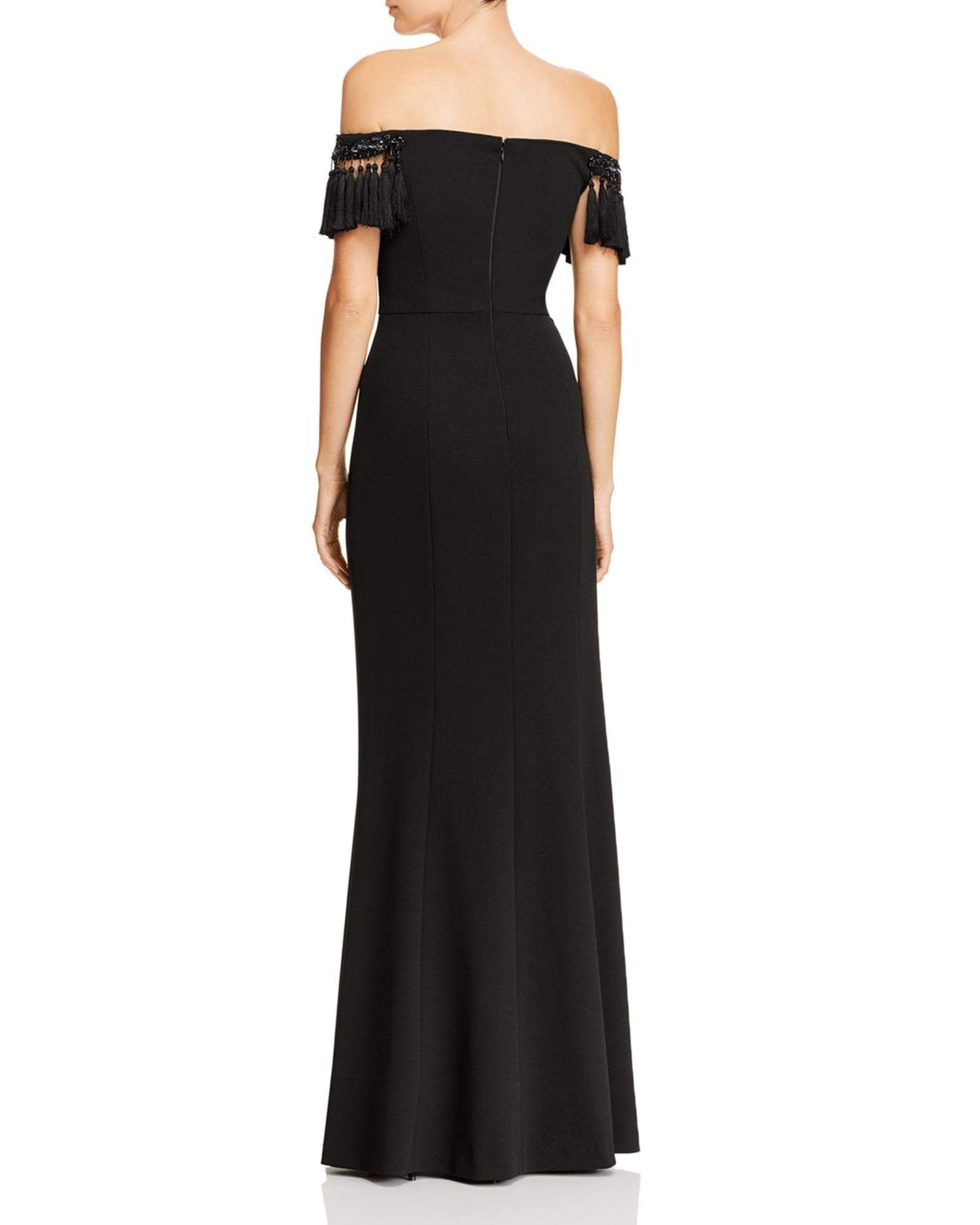 Aidan Mattox - MD1E203104 Off-Shoulder Tassel Sleeves Evening Gown In Black