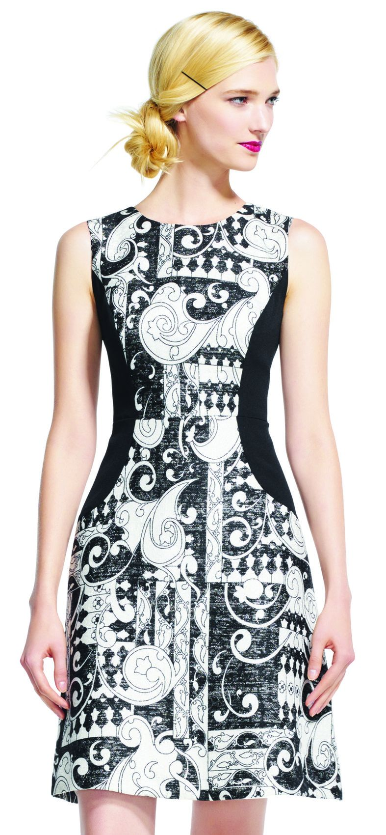 Adrianna Papell - AP1D100412 Sleeveless Print Sheath Short Dress In Black and White