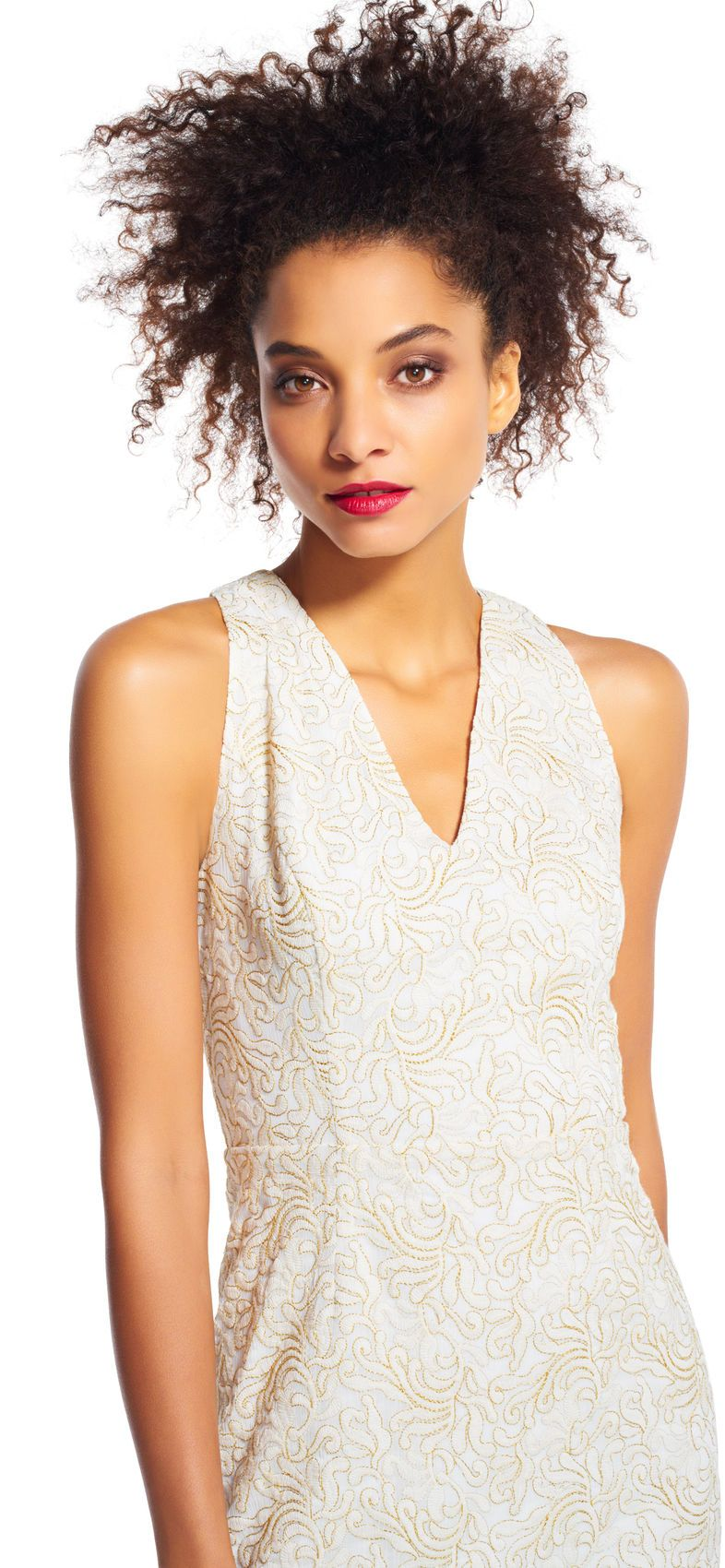 Adrianna Papell - AP1D100569 Sleeveless V-Neck Embroidered Dress In White