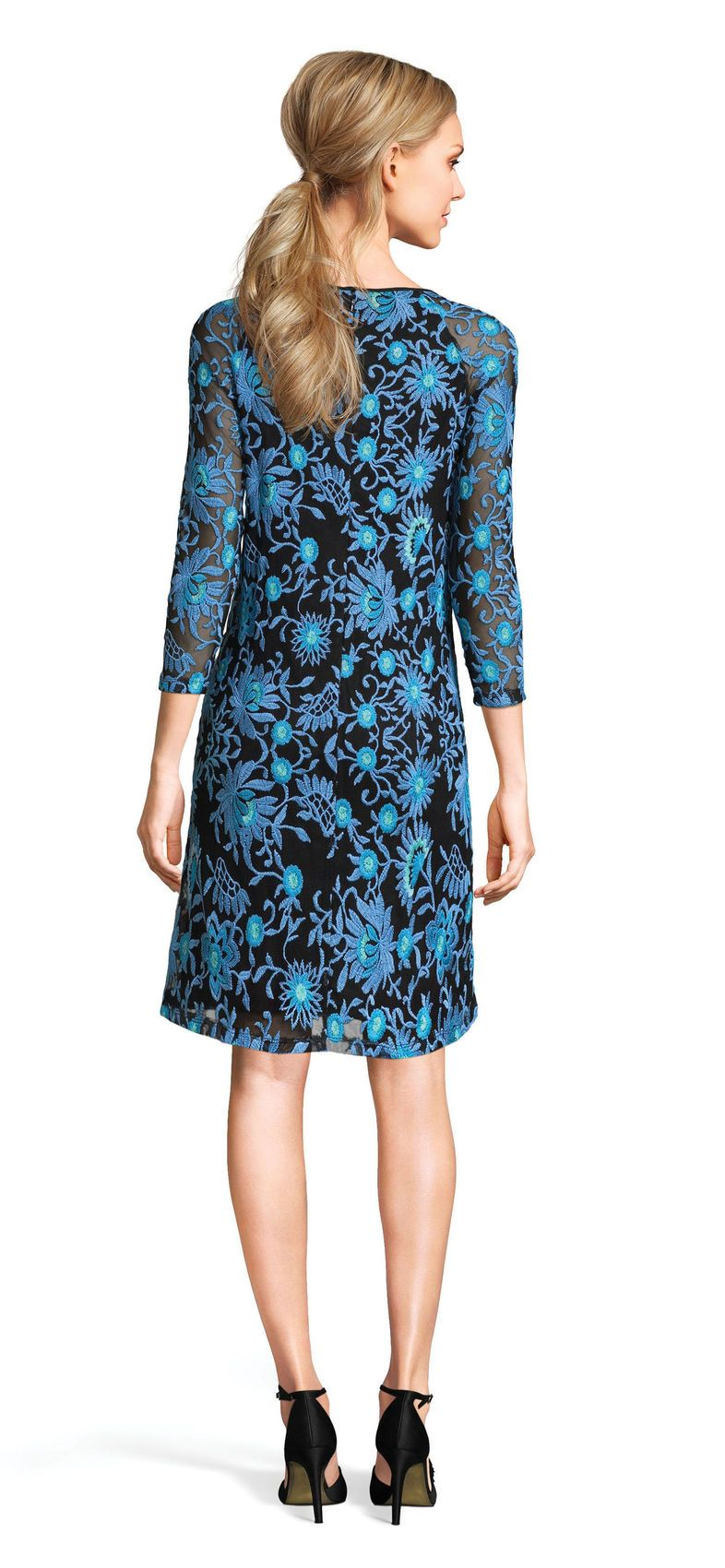 Adrianna Papell - AP1D100673 Embroidered Quarter Sleeve Sheath Dress In Blue
