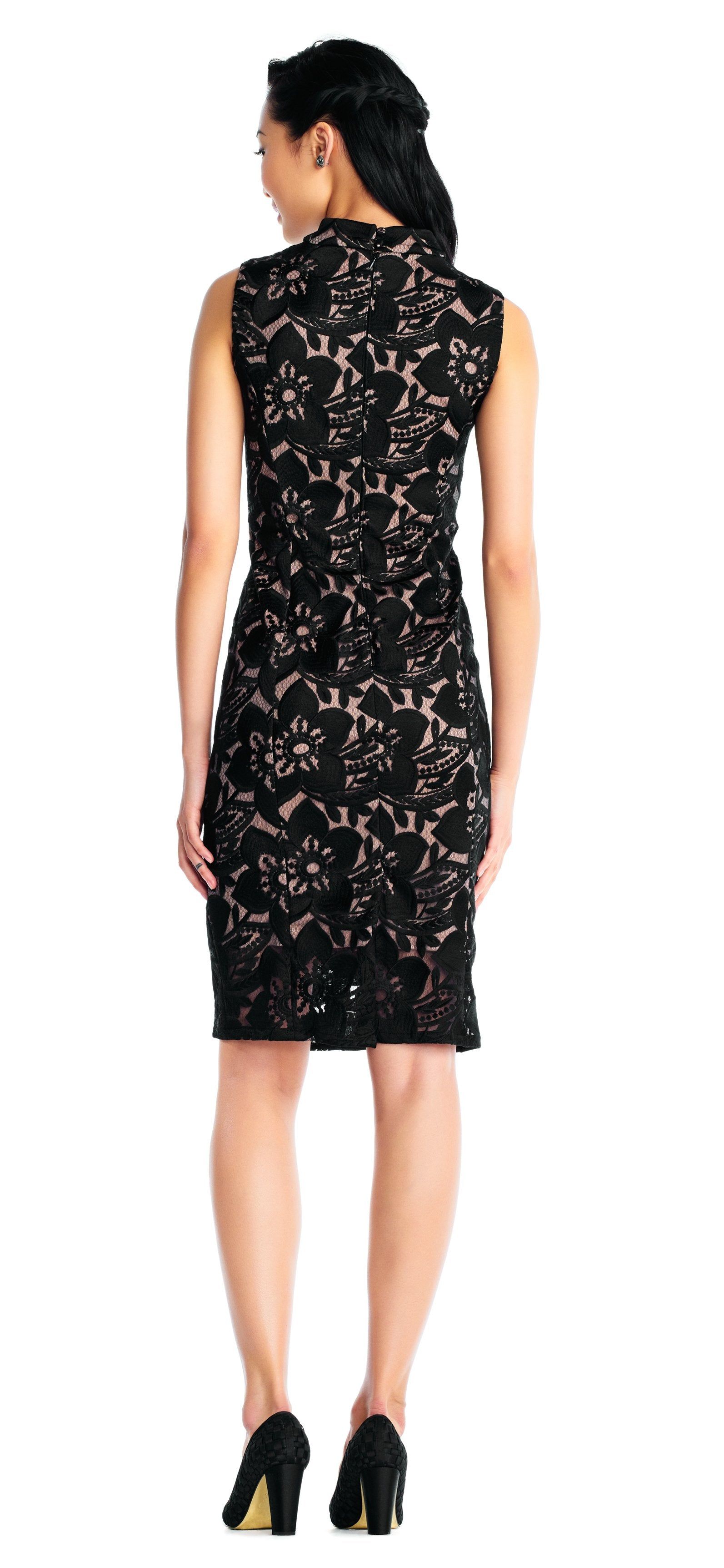 Adrianna Papell - AP1D101525 High Neck Floral Cocktail Dress In Black