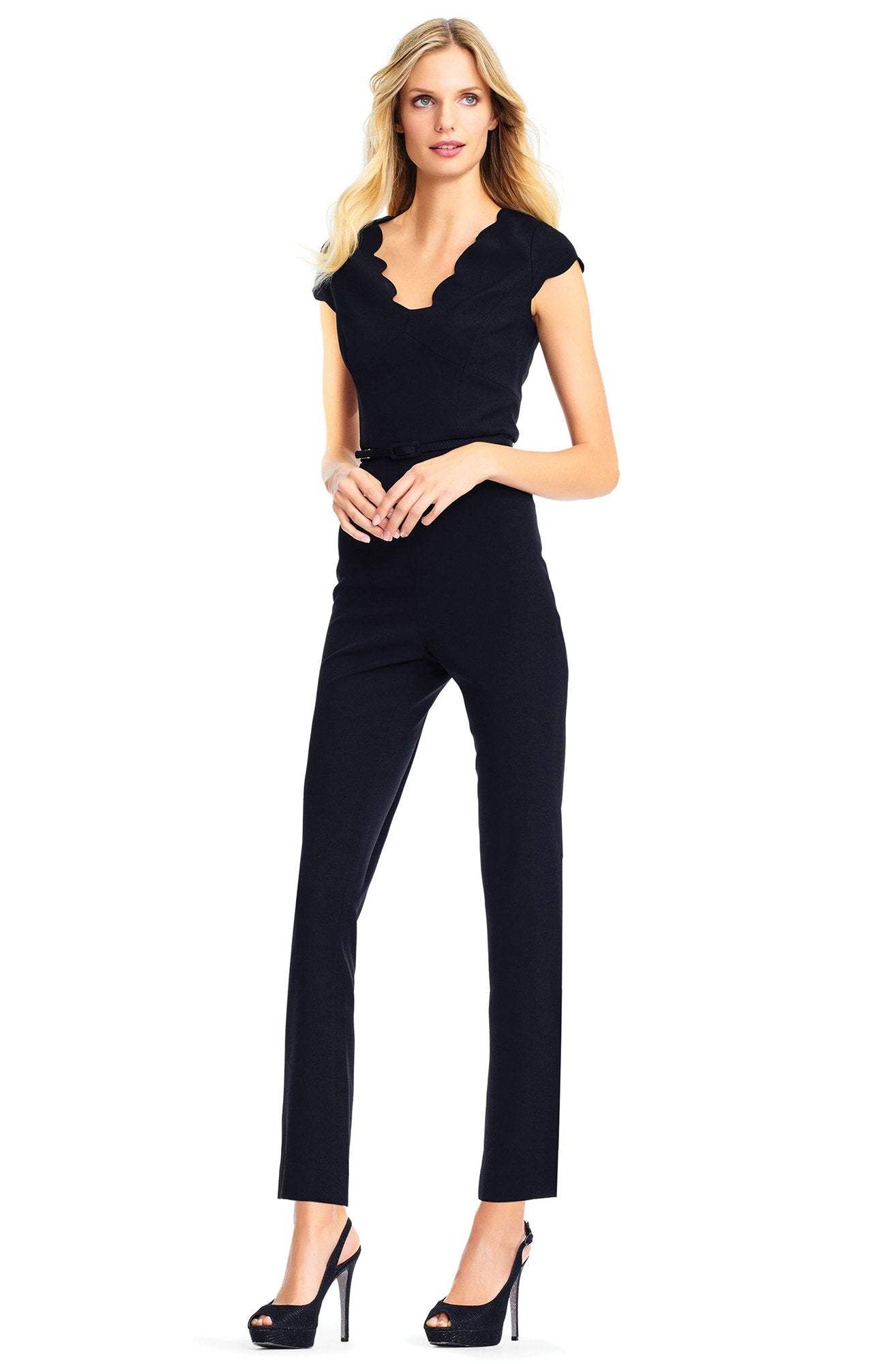 Adrianna Papell - AP1D101745 Fitted V-Neck Cap Sleeves Jumpsuit In Black
