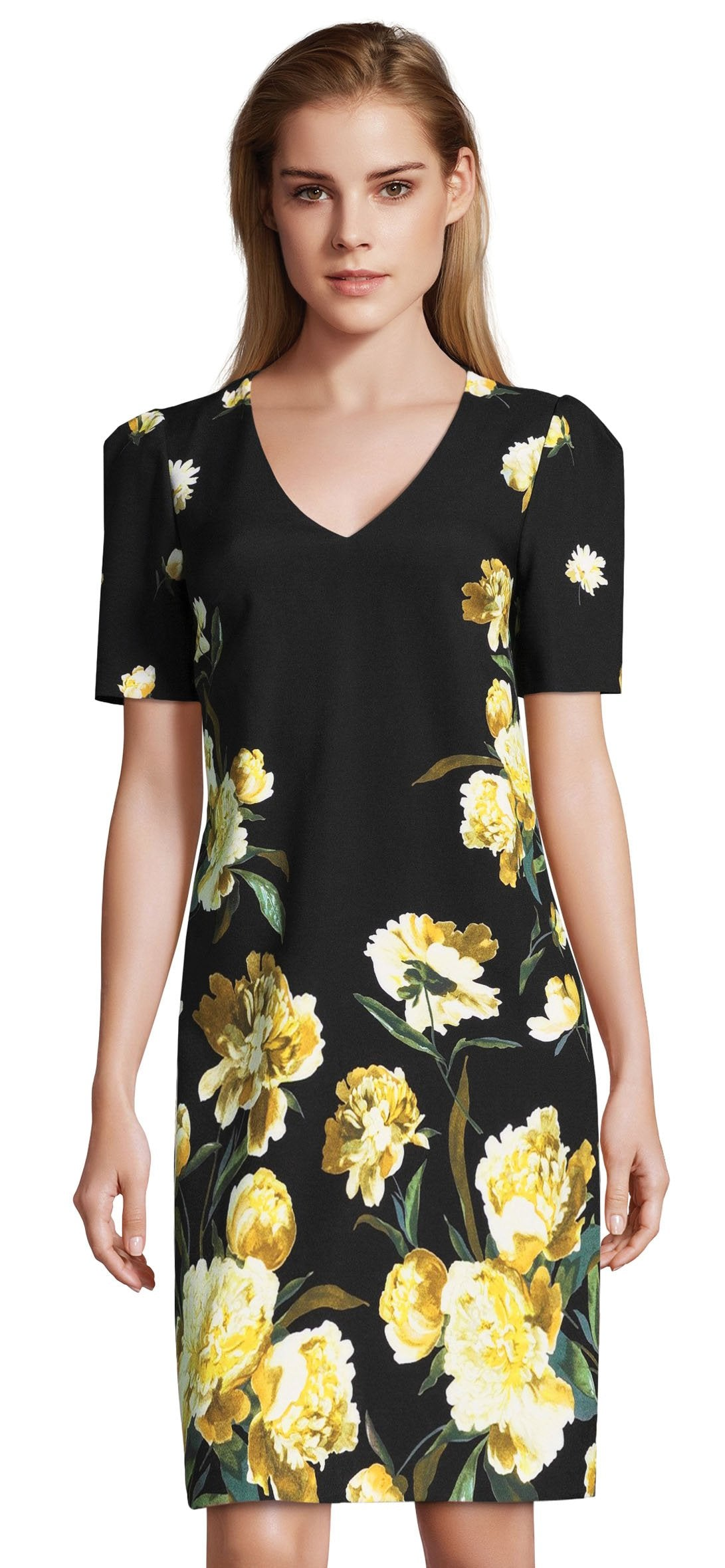 Adrianna Papell - AP1D102017 Floral V-Neck Cocktail Dress In Black and Multi-Color