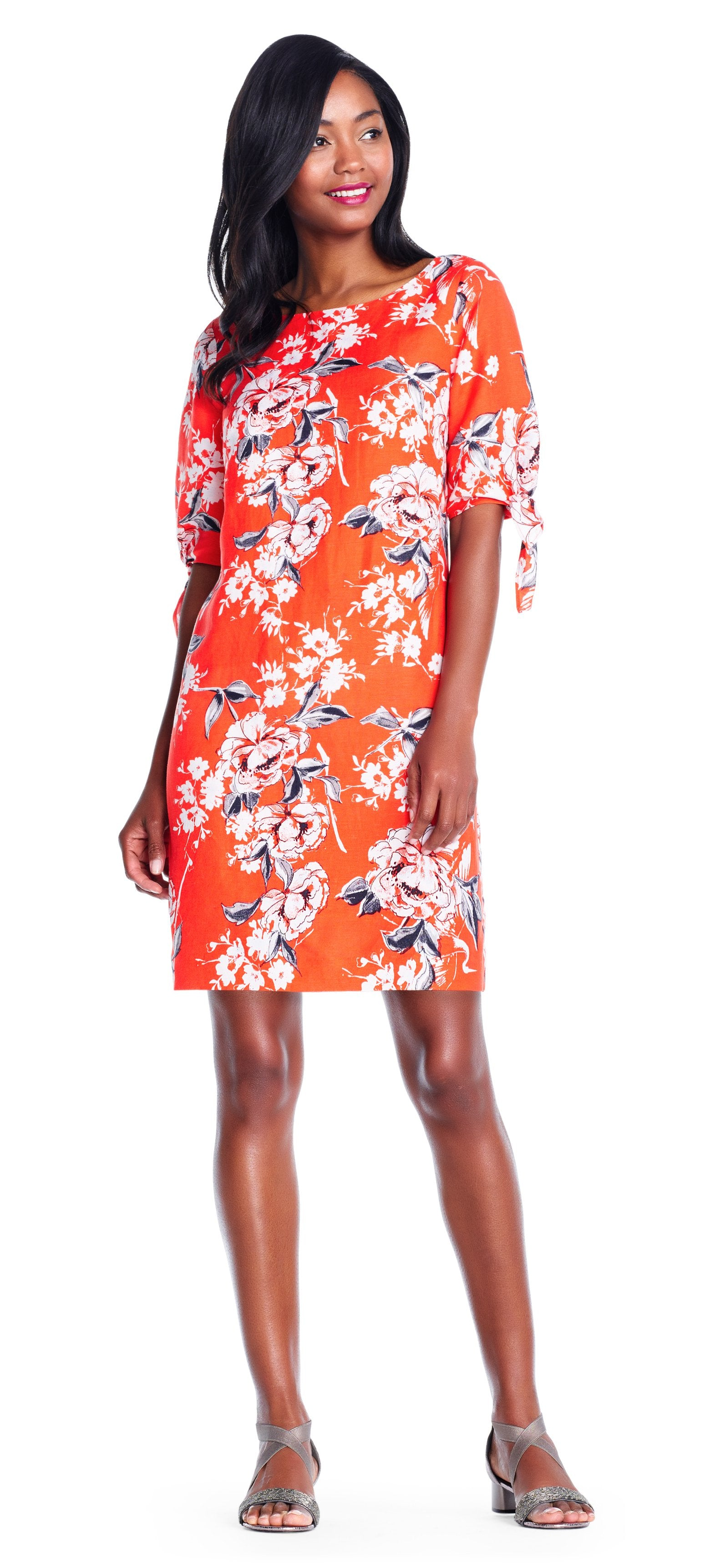 Adrianna Papell - AP1D102267 Floral Print Sleeves Tie Dress In Orange and Multi-Color