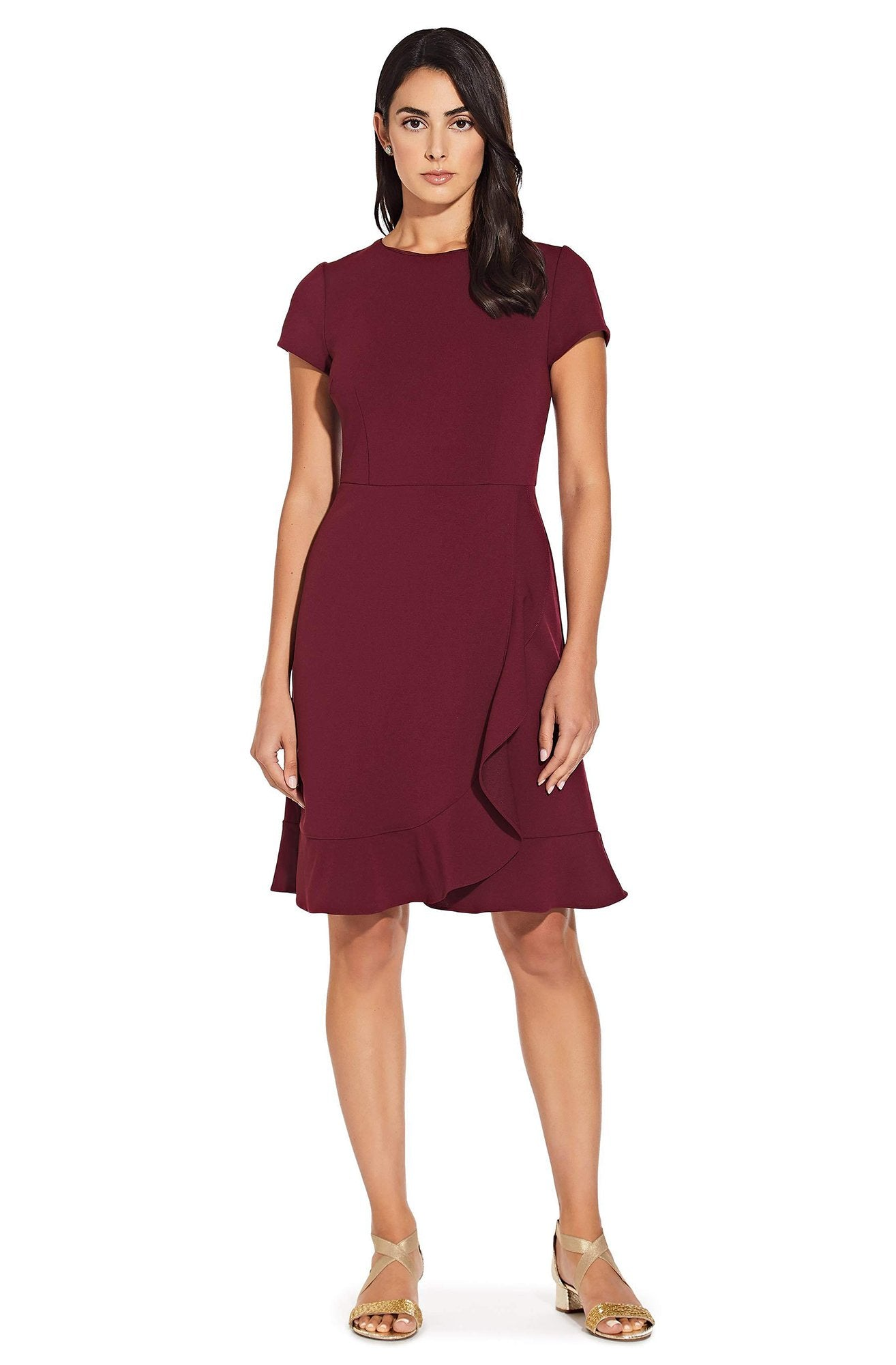 Adrianna Papell - AP1D102494 Jewel Short Sleeves Cocktail Dress In Red