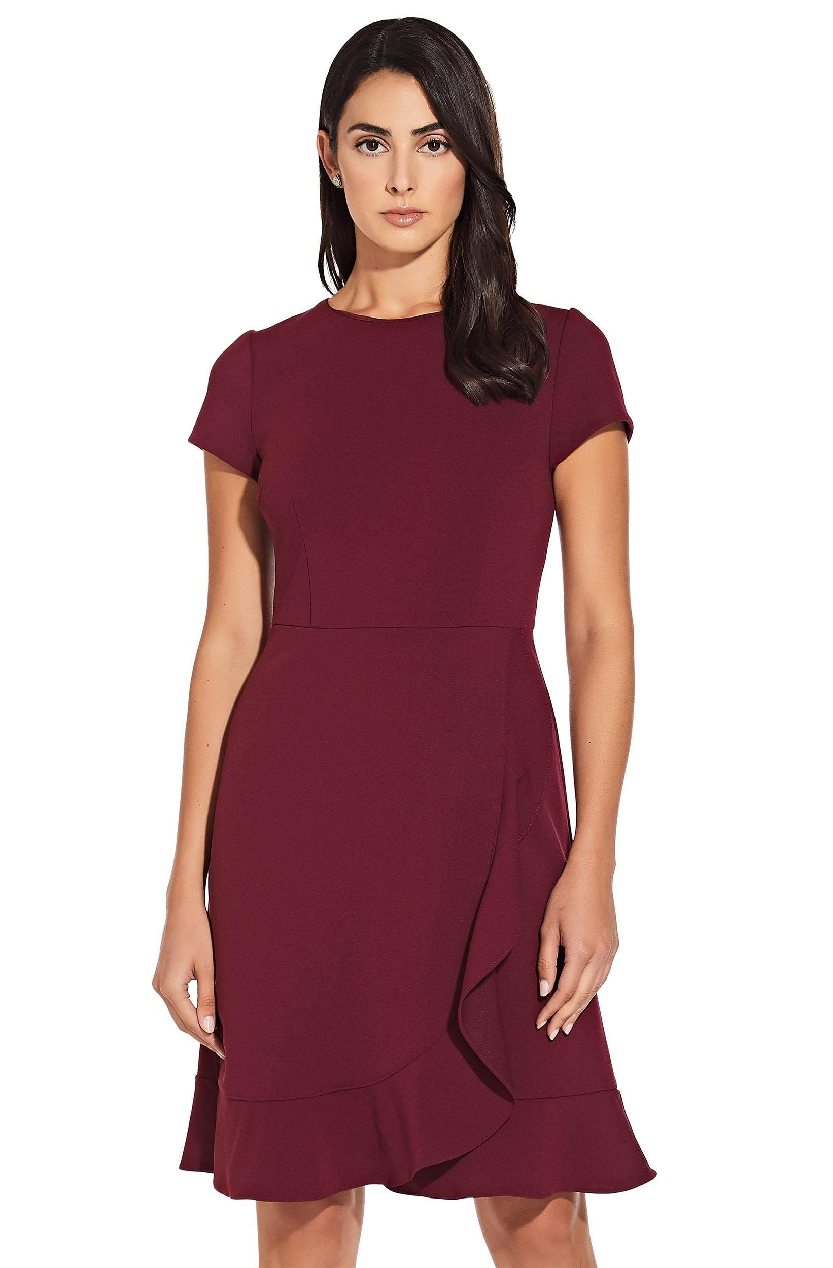Adrianna Papell - Solid Stretch Crepe Fluted Hem Dress AP1D102494SC