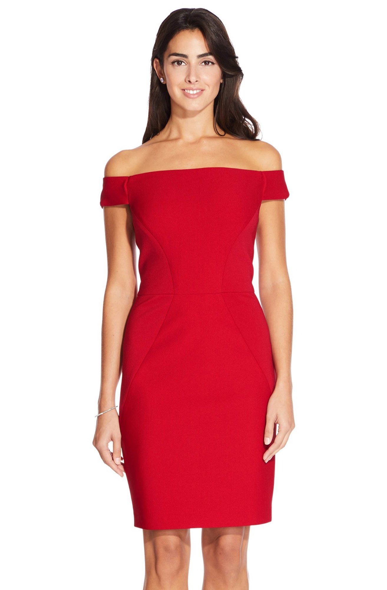 Adrianna Papell - AP1D102854 Off Shoulder Fitted Cocktail Dress In Red