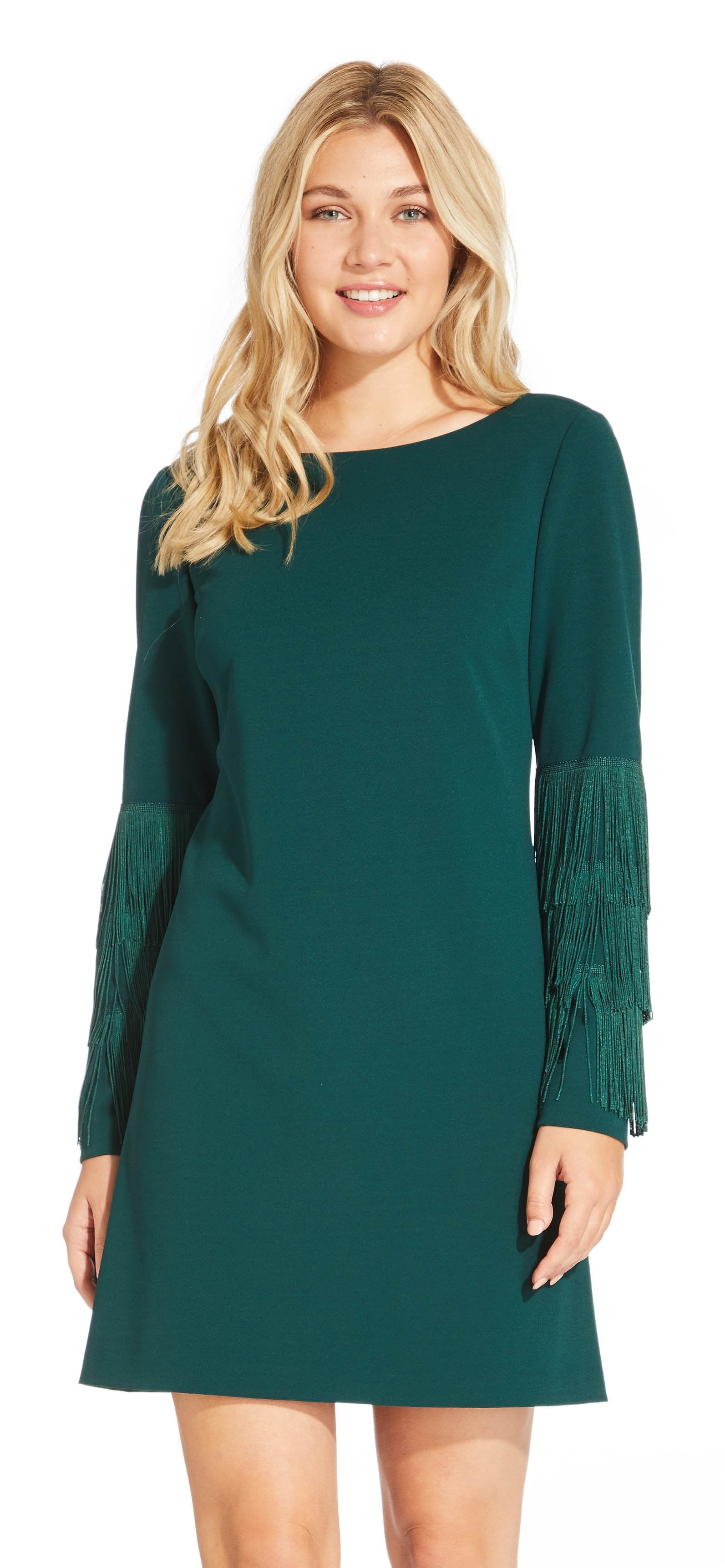 Adrianna Papell - AP1D102864 Long Sleeves Fringe Cocktail Dress In Green