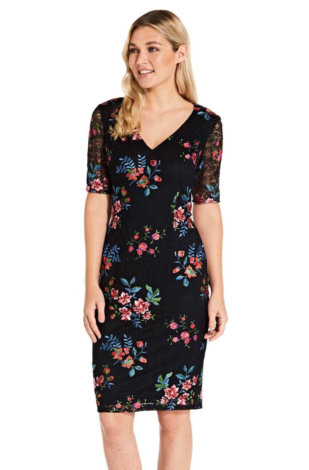 Adrianna Papell - AP1D102954 Floral Embroidered V-neck Sheath Dress In Black and Multi-Color