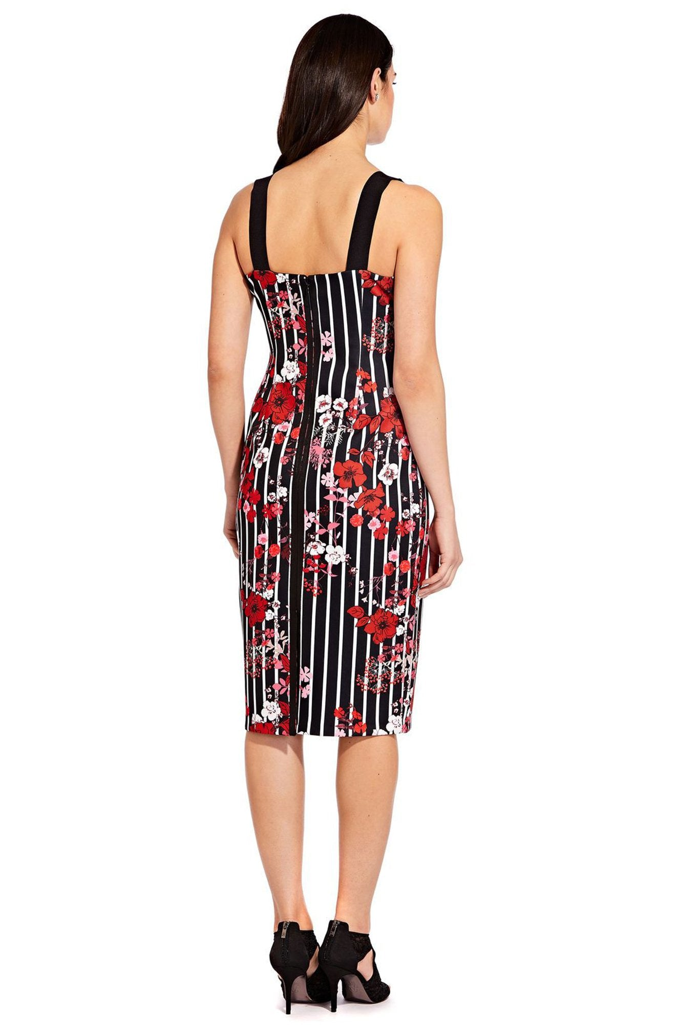 Adrianna Papell - AP1D103092 Printed Scuba Square Neck Fitted Dress In Black and Multi-Color