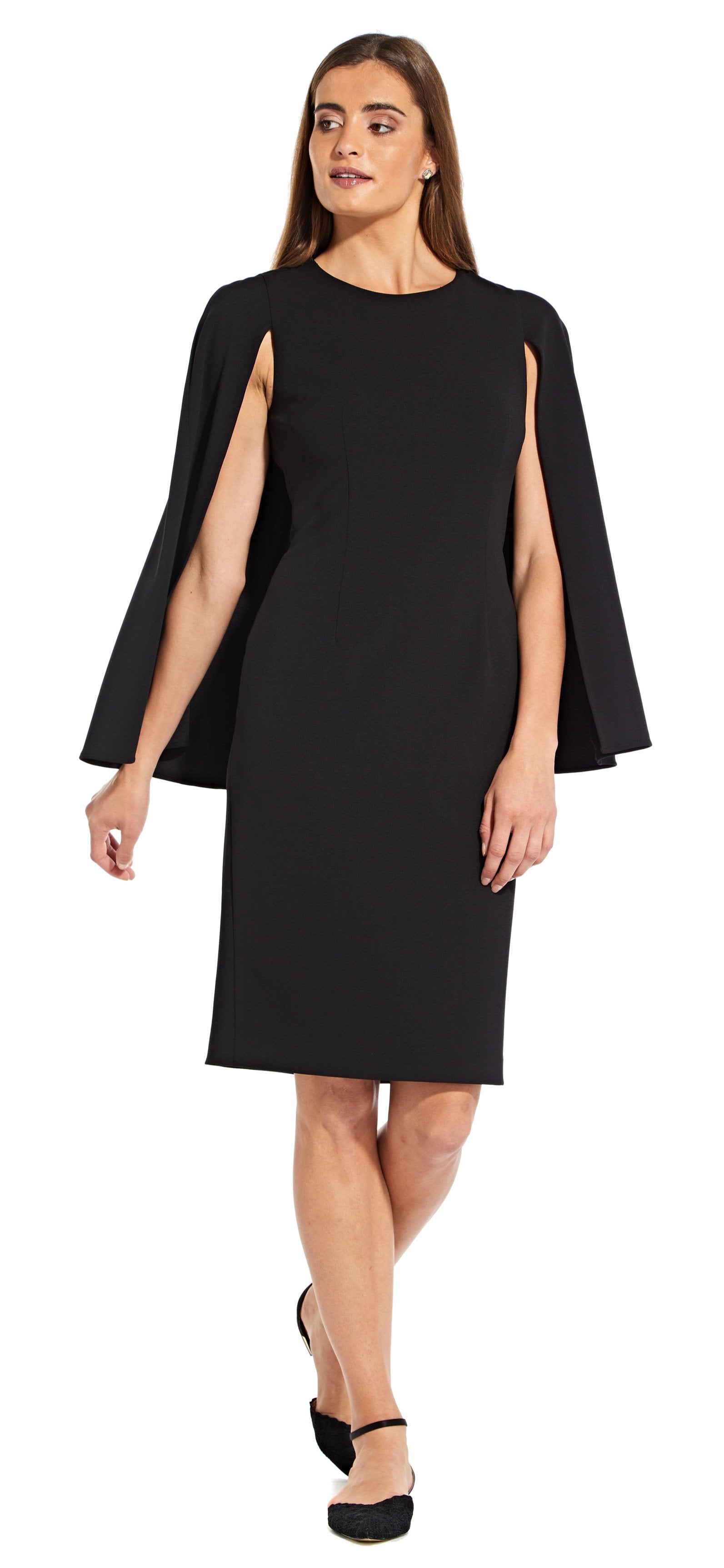 Adrianna Papell - AP1D103195 Jewel Cape Sleeve Cocktail Dress In Black