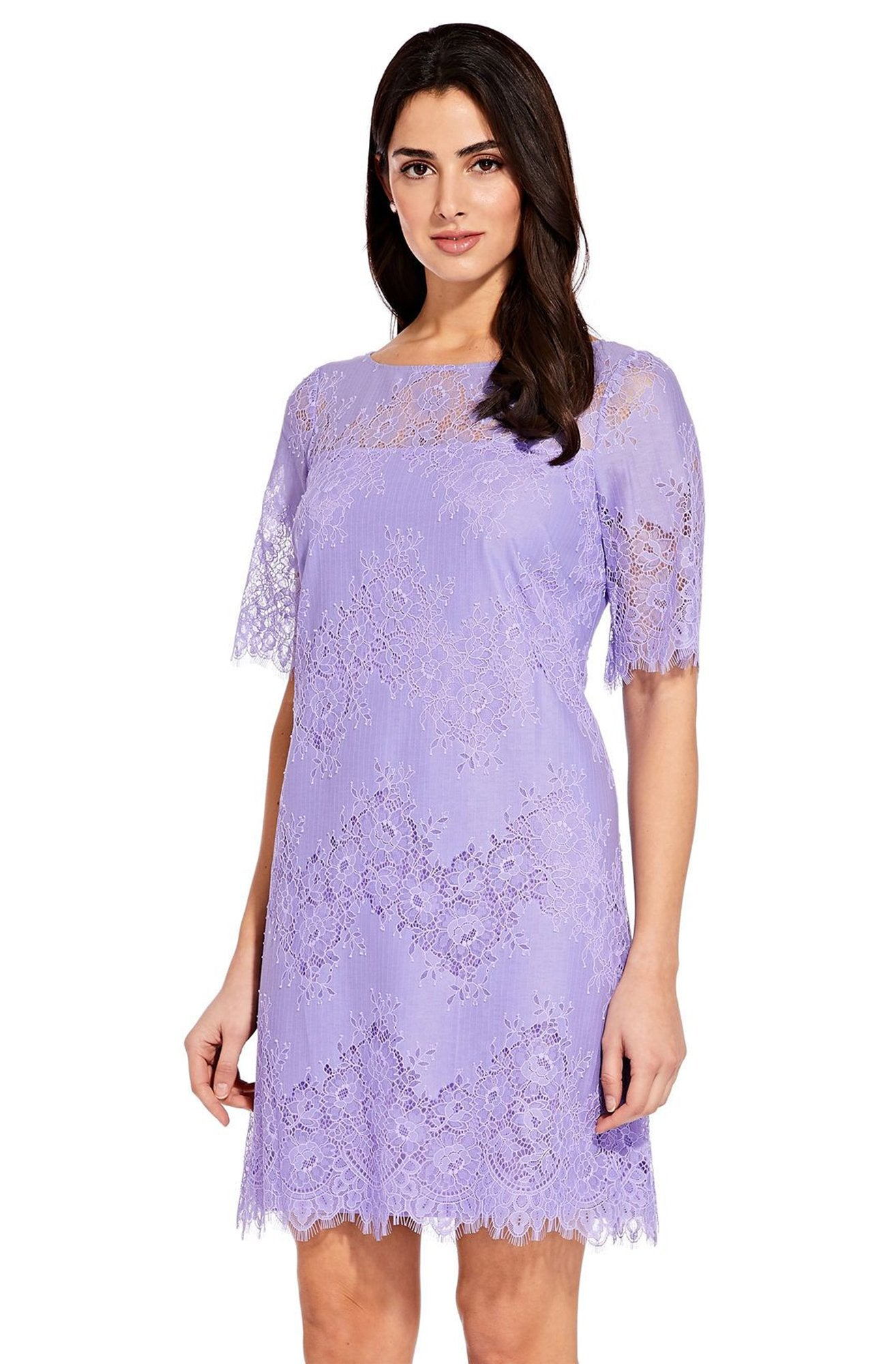 Adrianna Papell - AP1D103221 Floral Lace Bateau A-line Dress In Purple