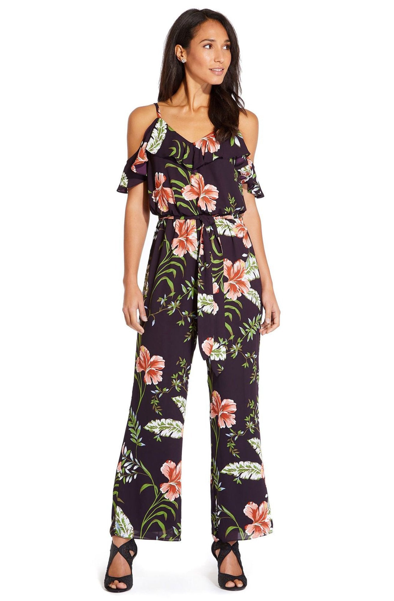 Adrianna Papell - AP1D103372 Floral Print V-neck Jumpsuit In Purple and Multi-Color