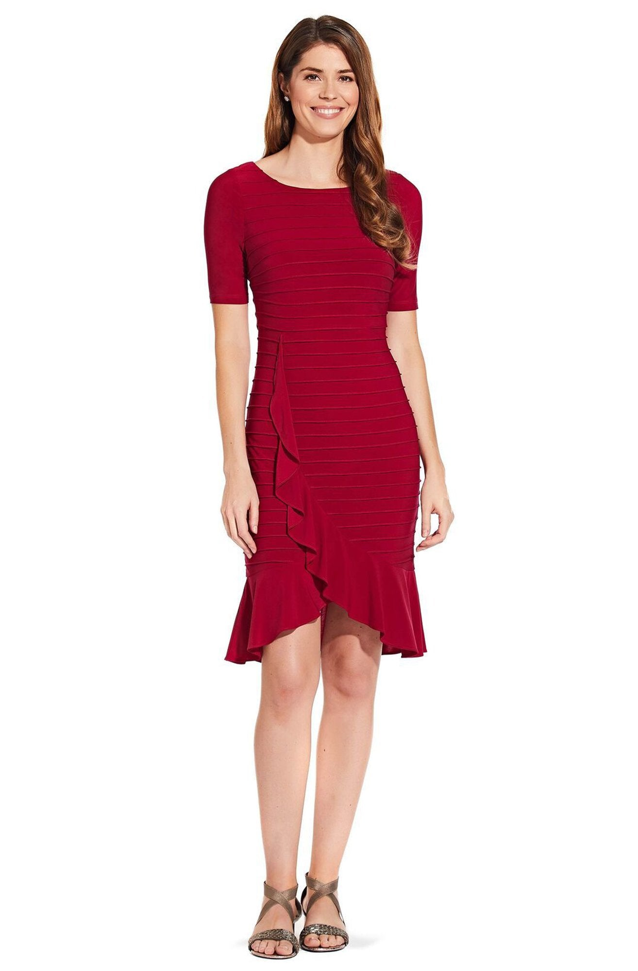 Adrianna Papell - AP1D103506 Bateau Ribbed Jersey Sheath Dress In Red