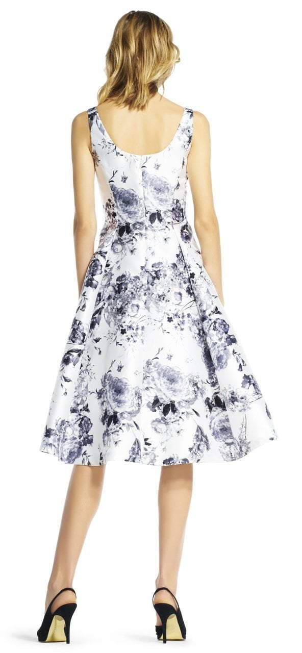 Adrianna Papell - AP1E200404 Floral Printed Mikado A-line Dress in White and Multi-Color