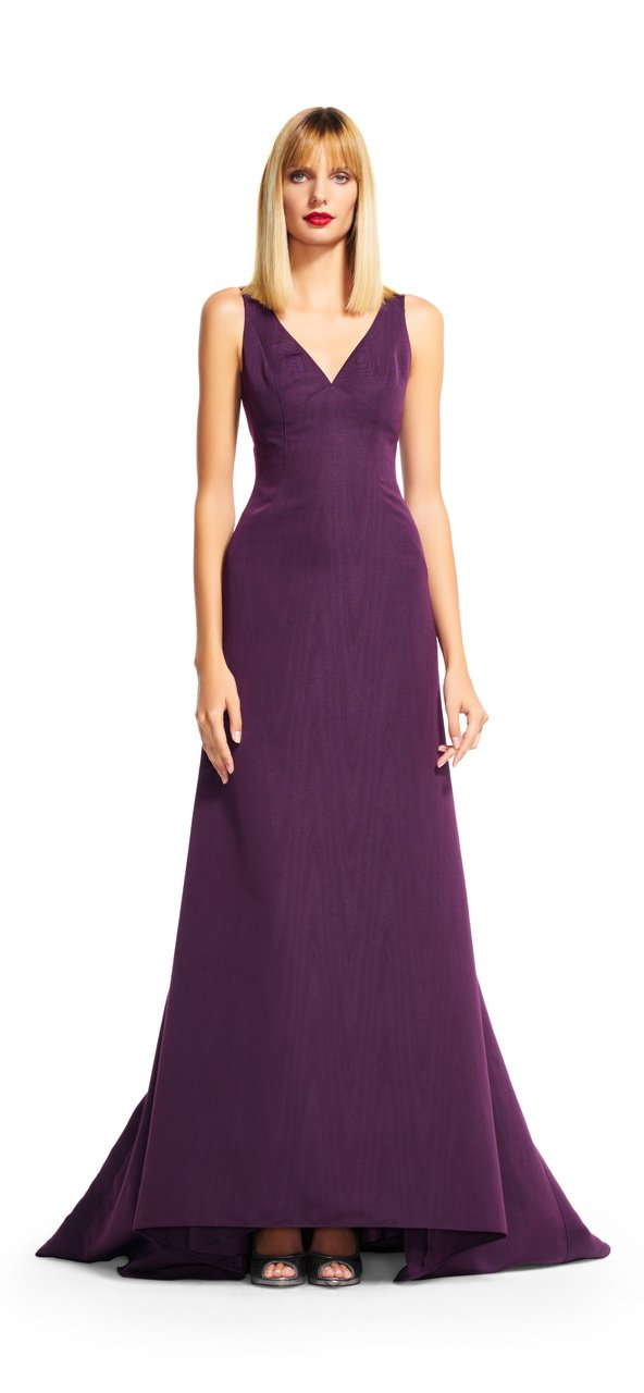 Adrianna Papell - AP1E200412 V-neck A-line Dress with Train in Purple