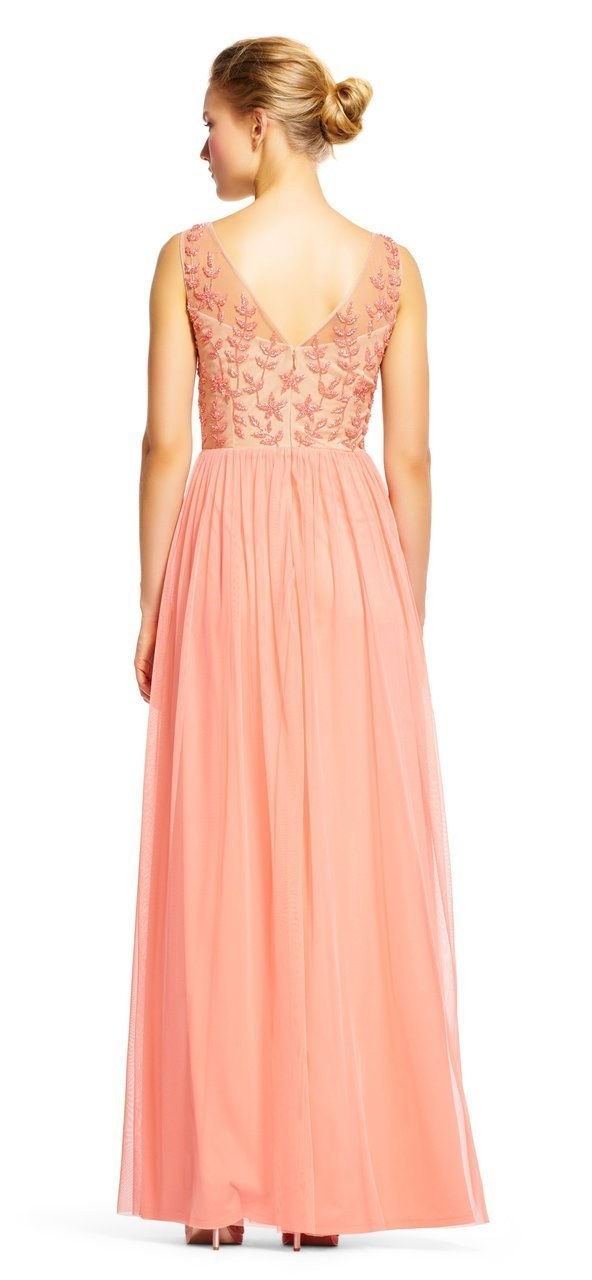 Adrianna Papell - AP1E200878 Beaded Illusion Bateau A-line Dress in Pink and Neutral