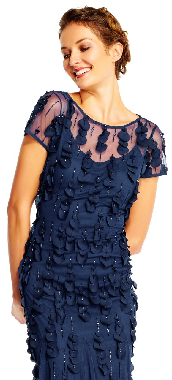 Adrianna Papell - AP1E200980 Embellished Illusion Bateau Sheath Dress in Blue