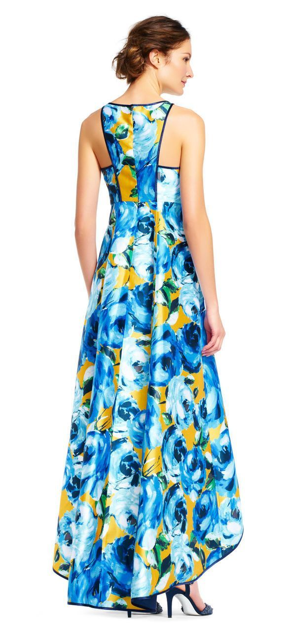 Adrianna Papell - AP1E201125 Floral Print Pleated Front High Low Dress in Floral and Print