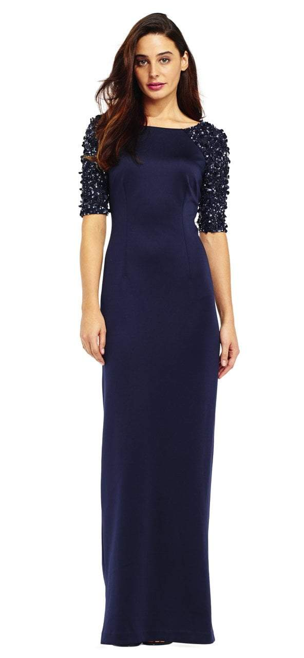 Adrianna Papell - AP1E201359 Embellished Scuba Sheath Dress in Blue