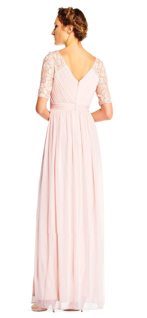 Adrianna Papell - AP1E201417 Half Sleeve Pin-Tucked Bodice Long Gown in Pink
