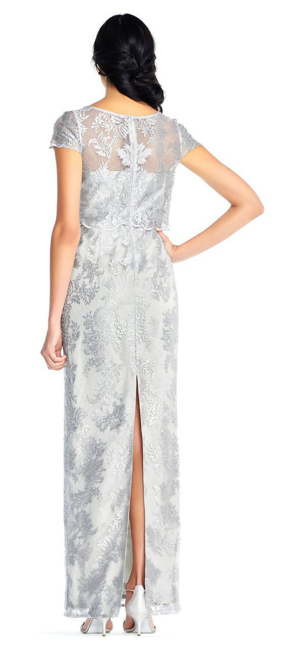 Adrianna Papell - AP1E201453 Metallic Embroidered Popover Lace Gown in Silver