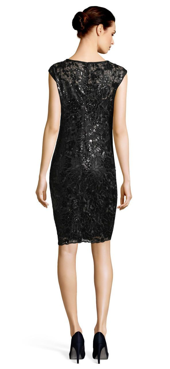 Adrianna Papell - AP1E201566 Sequined Floral Lace Knee Length Dress in Black