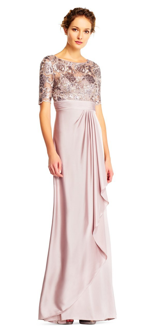 Adrianna Papell - Short Sleeves Draped Satin Dress AP1E201568 In Pink