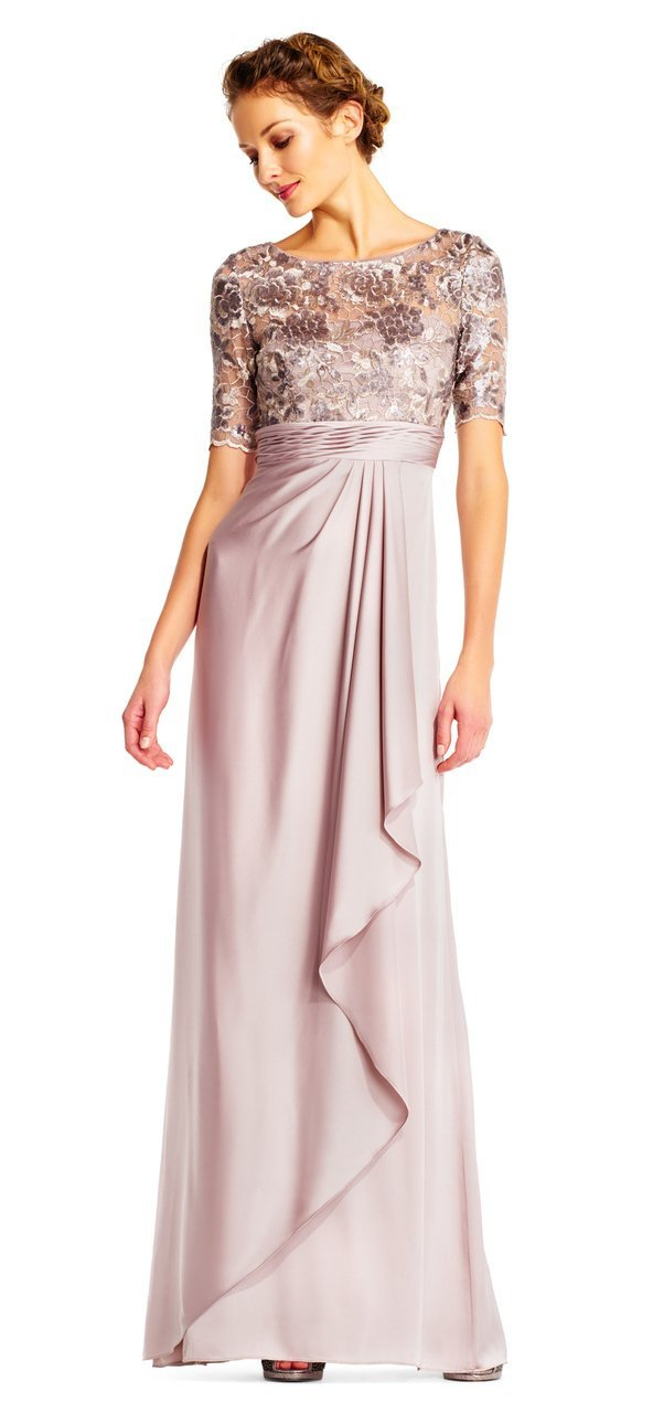 Adrianna Papell - Short Sleeves Draped Satin Dress AP1E201568 In Neutral