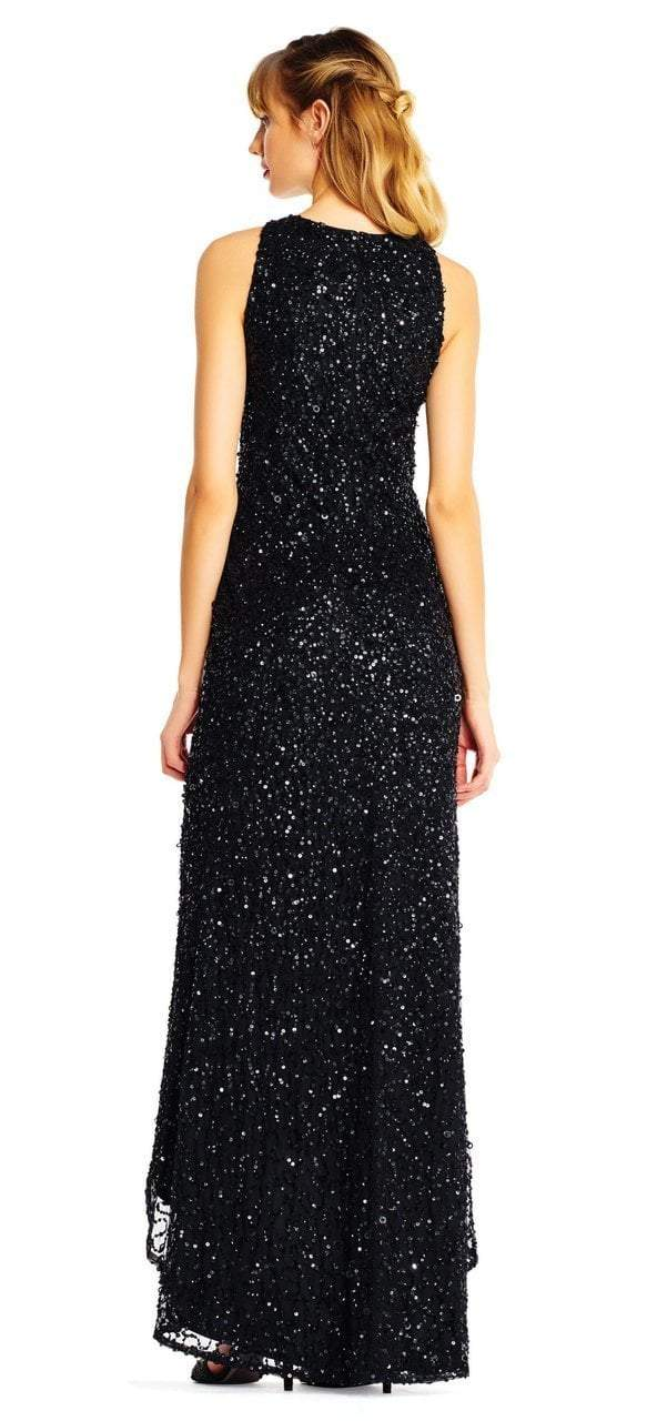 Adrianna Papell - AP1E201754 High Low Sequin Beaded Sleeveless Gown in Black