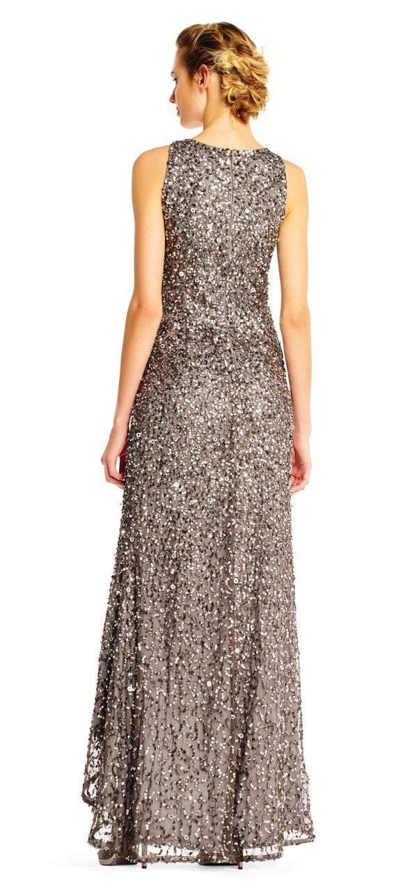 Adrianna Papell - AP1E201754 High Low Sequin Beaded Sleeveless Gown in Silver and Gray