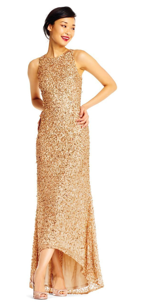 Adrianna Papell - AP1E201754 High Low Sequin Beaded Sleeveless Gown in Gold