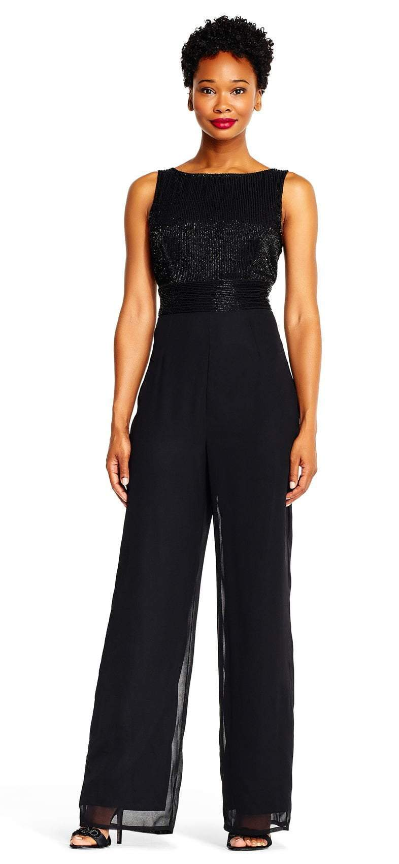 Adrianna Papell - AP1E202207 Beaded Sleeveless Bateau Jumpsuit In Black