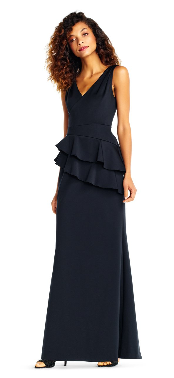 Adrianna Papell - AP1E202233 Sleeveless Layered Peplum Gown in Black