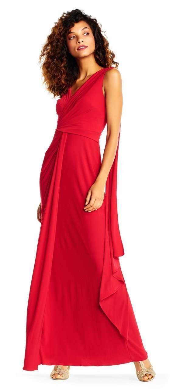 Adrianna Papell - Gathered Bodice Draped Jersey Gown AP1E202251 In Red