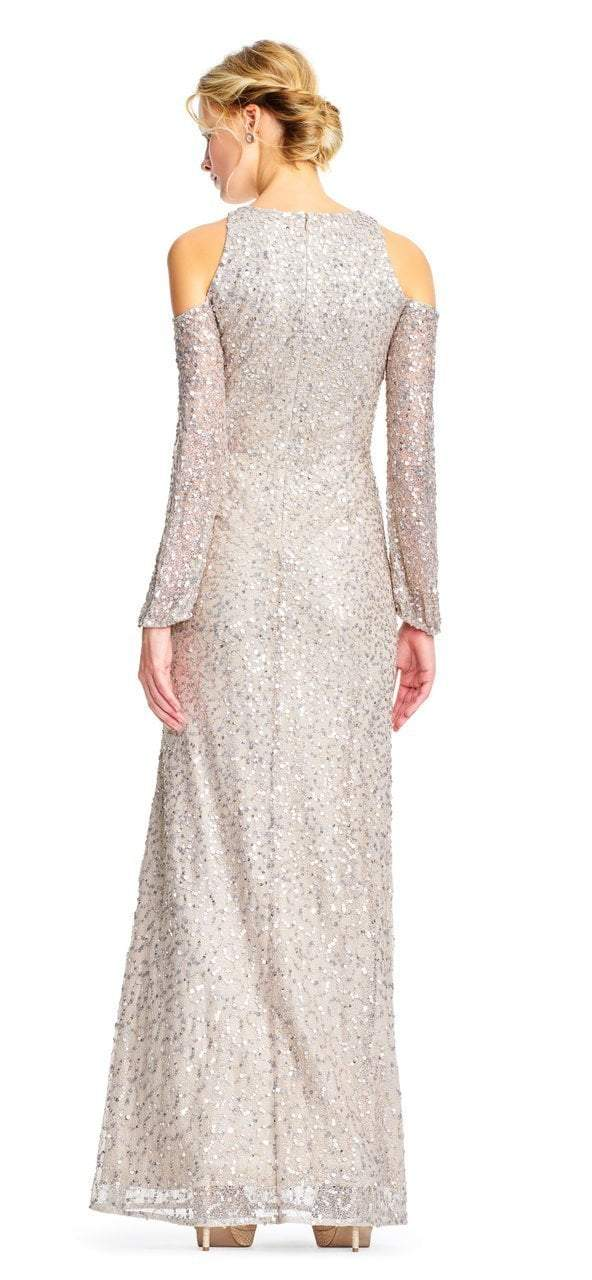 Adrianna Papell - AP1E202444 Sequined Cold Shoulder Long Sleeve Gown in Neutral and Silver