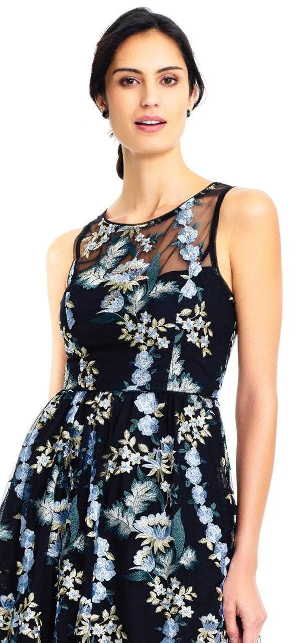 Adrianna Papell - AP1E202670 Floral Embroidered Scoop High Low Gown in Black and Multi-Color