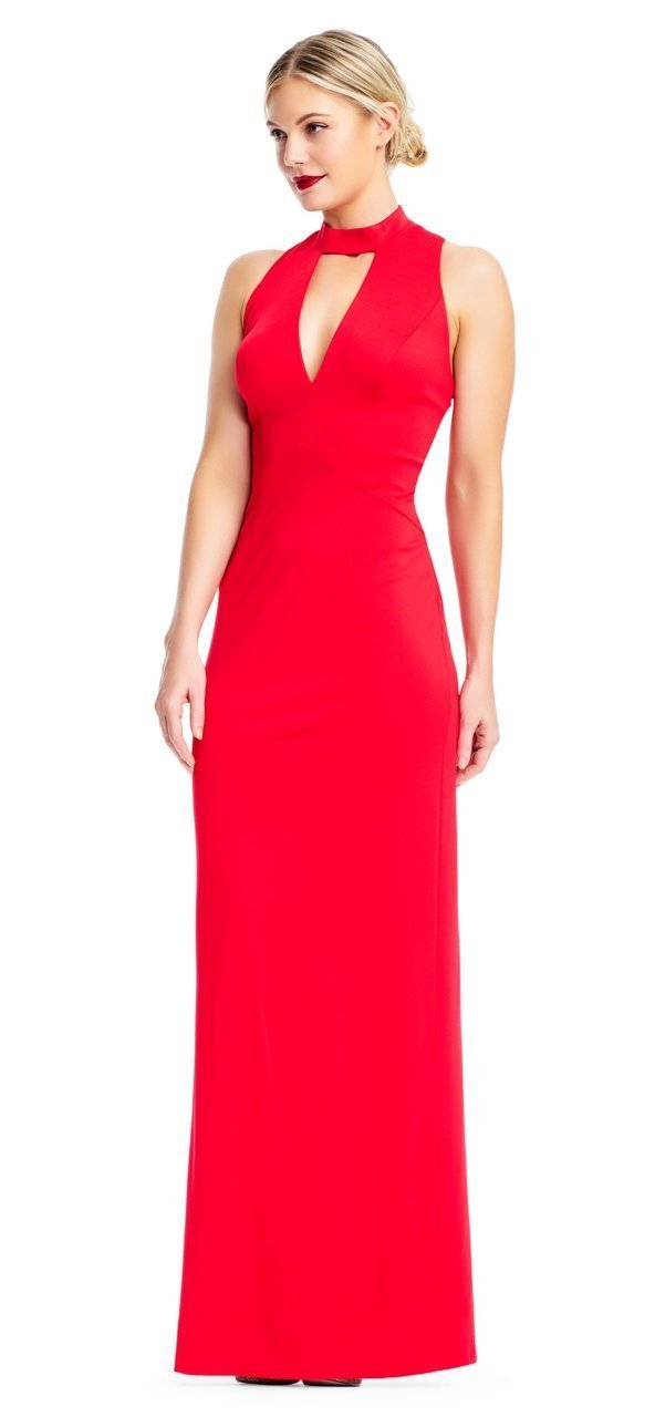 Adrianna Papell - AP1E202675 High Halter Fitted Strappy Back Dress in Red