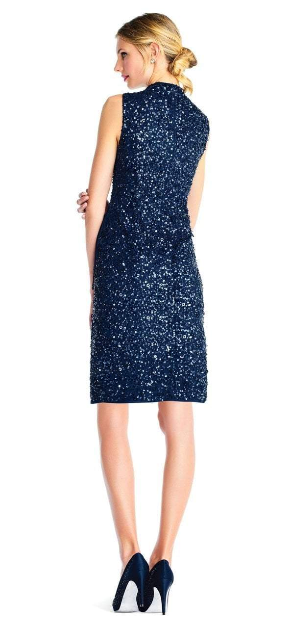 Adrianna Papell - AP1E202826 Sequined High Neck Fitted Cocktail Dress in Blue