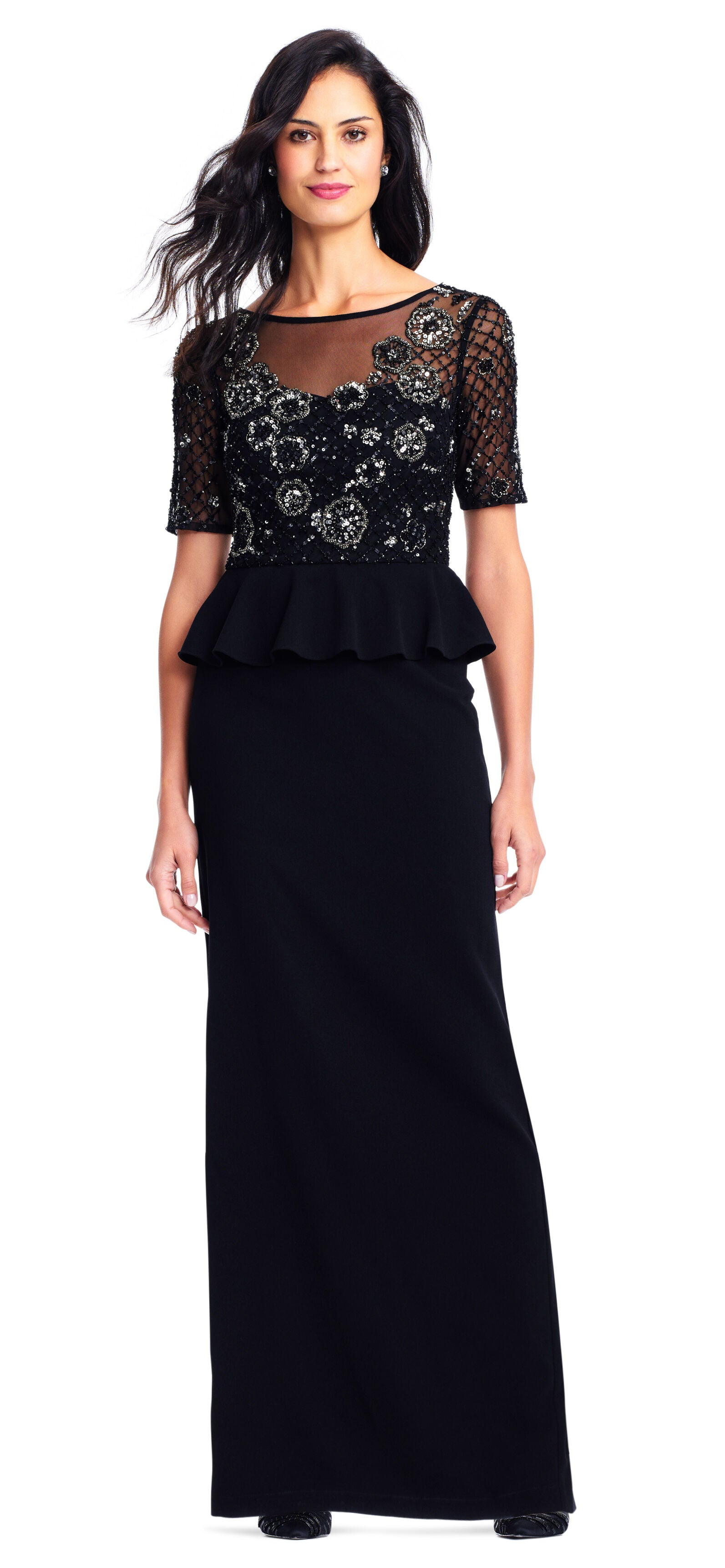 Adrianna Papell - AP1E202890 Embellished Short Sleeves Peplum Gown in Black and Silver