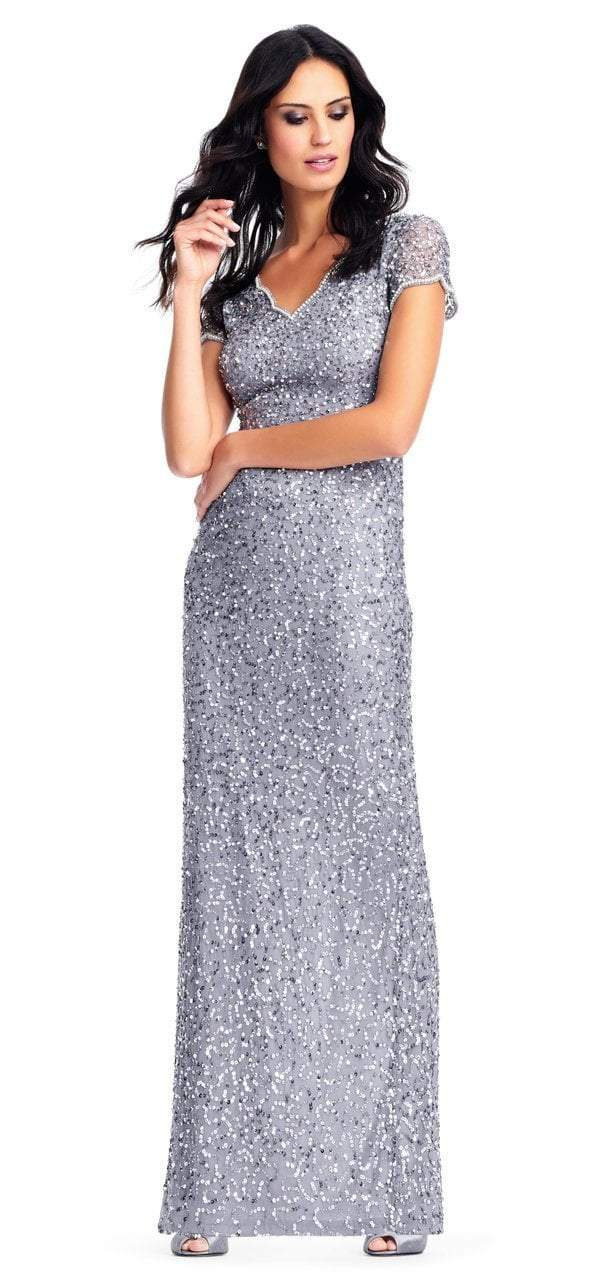Adrianna Papell - AP1E202907 Fully Sequined Short Sleeves Evening Gown in Silver and Gray