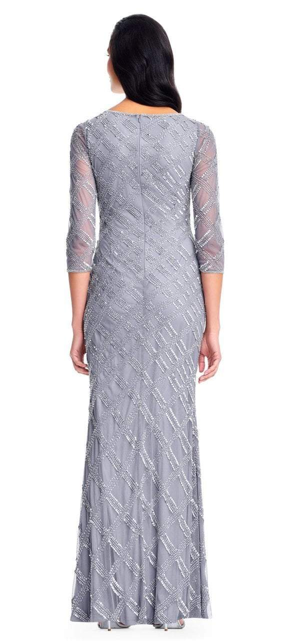 Adrianna Papell - AP1E202919 Beaded Sheer Quarter Length Sleeves Dress in Silver and Gray
