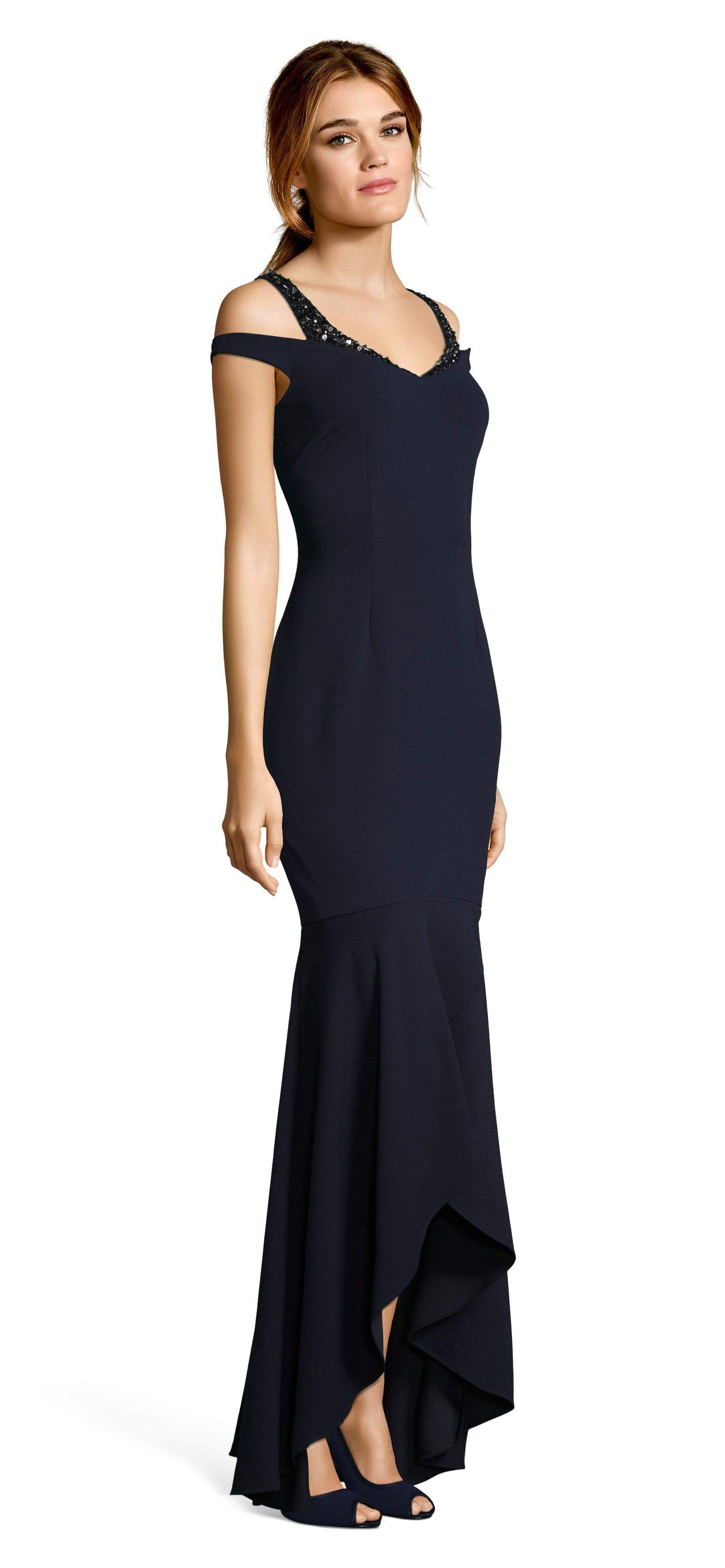 Adrianna Papell - AP1E202959 V-Neck Fitted Trumpet High Low Dress In Blue