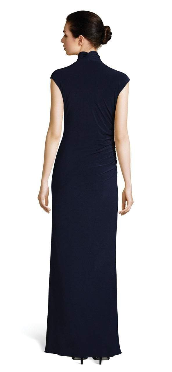 Adrianna Papell - AP1E202962 Cowl Fitted Evening Dress in Blue