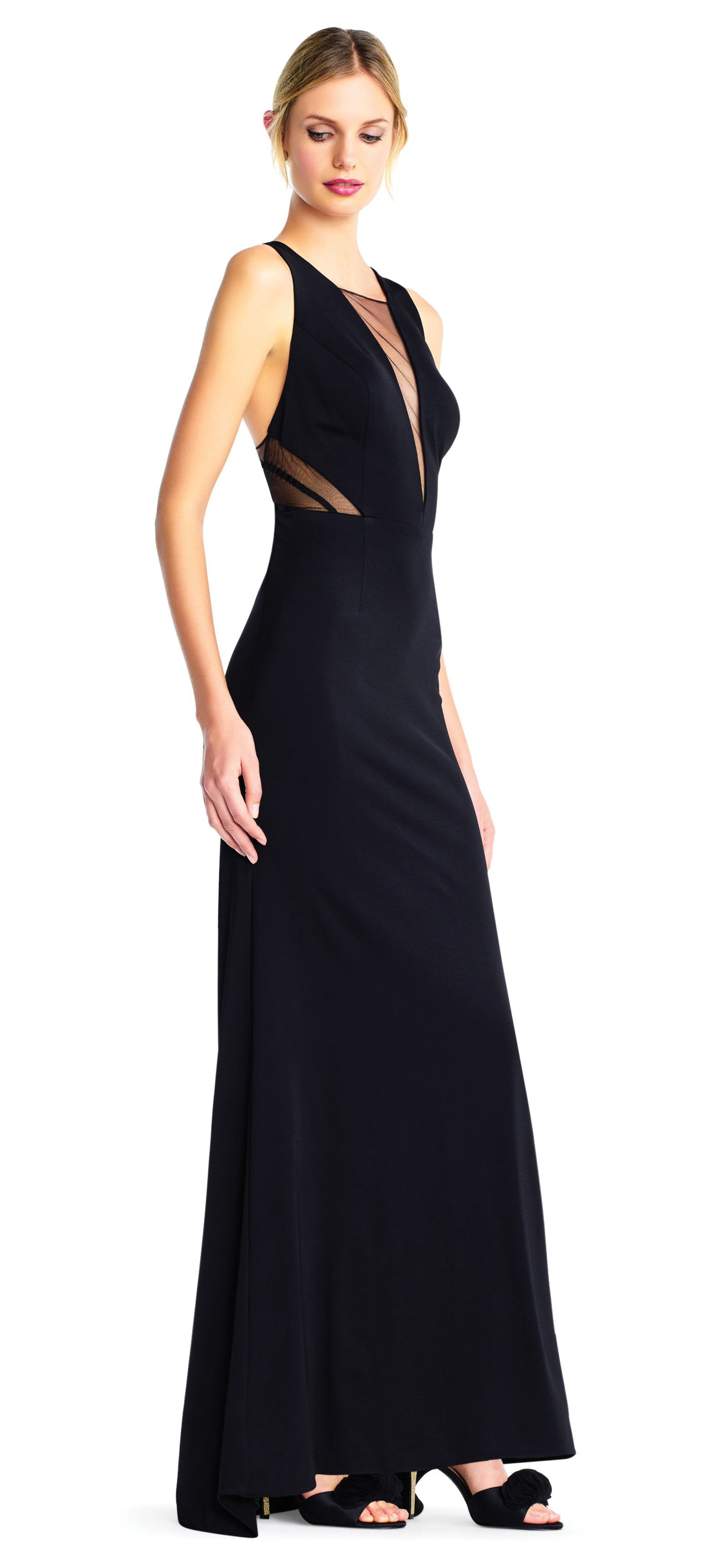 Adrianna Papell - AP1E203020 Sheer Cutouts Open Back Evening Gown In Blue