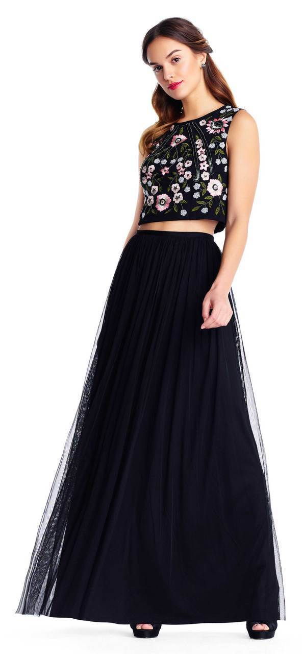 Adrianna Papell - AP1E203115 Two Piece Sequined Tulle A-line Dress in Black and Multi-Color