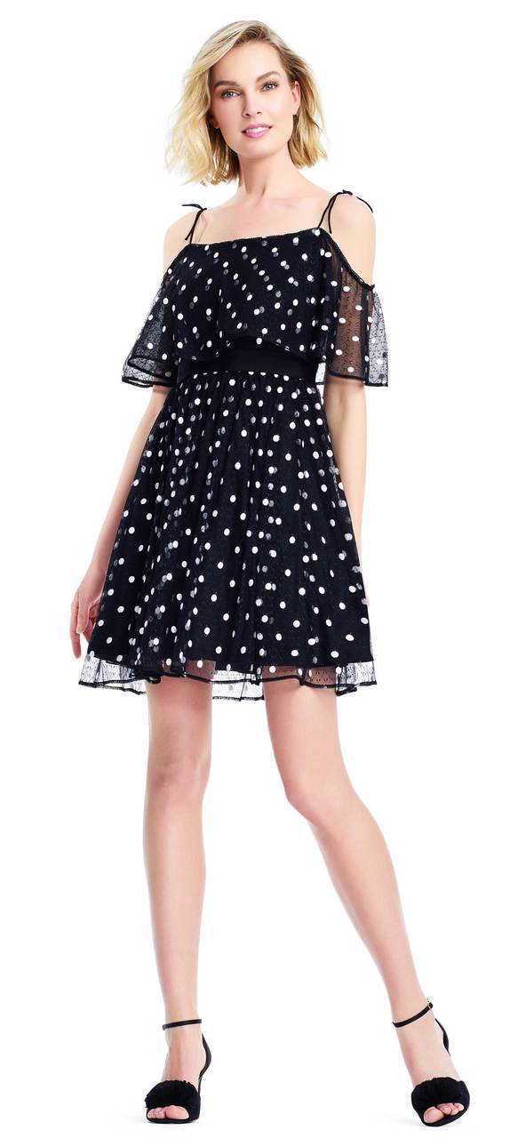 Adrianna Papell - AP1E203196 Polka Dot Square Neck A-line Dress in Black and White